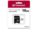 MicroSD Transcend 16GB / SD adapter / UHS-I / TS16GUSD300S-A