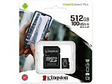 Kingston SDCS2/512GB 512GB microSD Class10 A1 UHS-I + SD adapter Canvas Select Plus